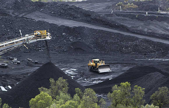 Coal is stockpiled at the Blair Athol mine at the remote Bowen Basin coalfield near Moranbah in Australia.
