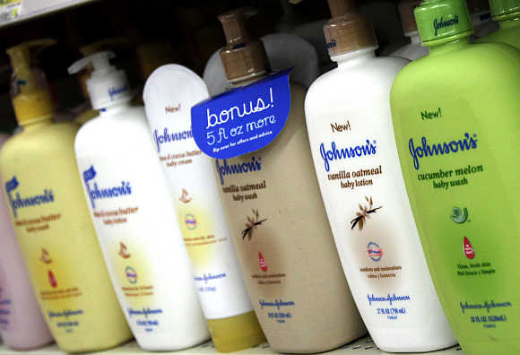 Products made by Johnson & Johnson for sale on a store shelf in Westminster, Colorado, United States.