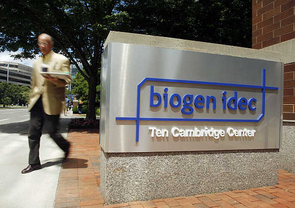 A sign outside the headquarters of Biogen Idec in Cambridge, Massachusetts.
