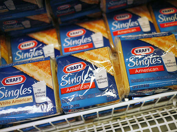 Kraft cheese products are seen on the shelf at a grocery store in Washington.