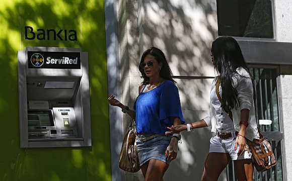 An ATM machine at Spain's lender bank Bankia in Madrid.