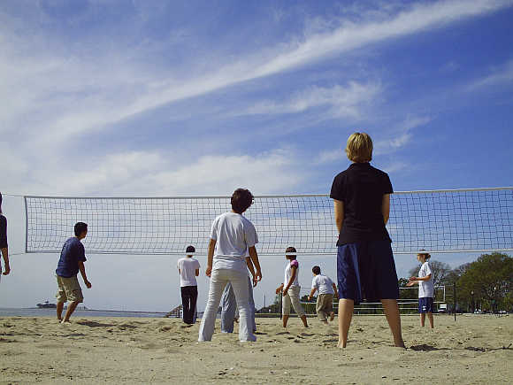 A game of volleyball at Seaside Park in Bridgeport, Connecticut.