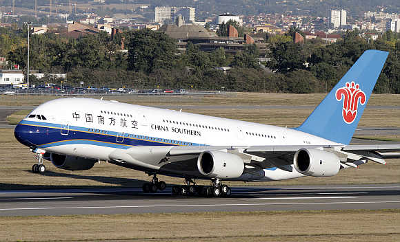 China Southern Airlines's Airbus A380 takes off from Toulouse-Blagnac airport, France.