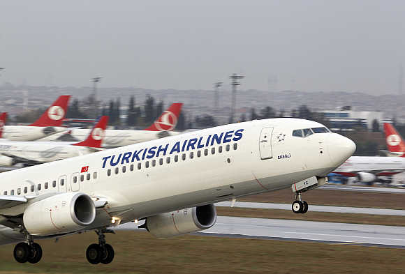 A Turkish Airlines plane takes off at Ataturk International Airport in Istanbul.