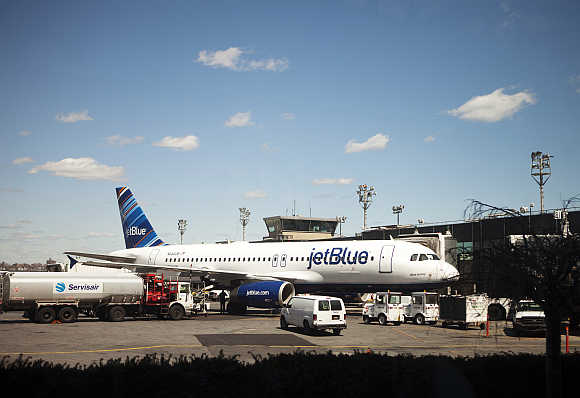 A JetBlue Airways plane at LaGuardia Airport in New York.