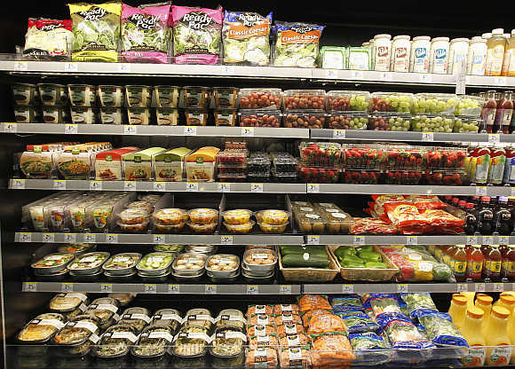 Salads, fresh fruits and prepared food for sale at a store in Hollywood, United States.
