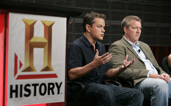 Matt Damon, left, actor and executive producer of the History Channel film 'The People Speak', and Chris Moore, executive producer, discuss the film in Pasadena, California, United States.