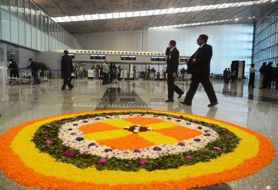 Floral decoaration adorns the new Kolkata airport.