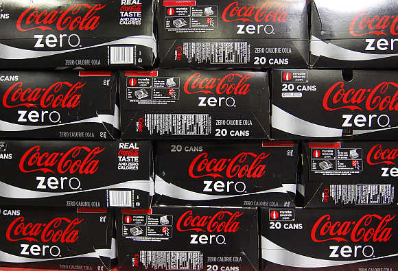 Cases of Coca-Cola zero, which will be delivered to stores, at a warehouse at the Swire Coca-Cola facility in Draper, Utah, United States.