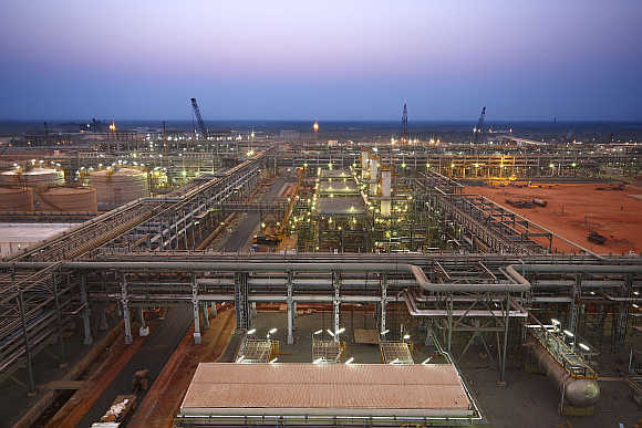 Reliance Industries KG-D6's facility in Andhra Pradesh.