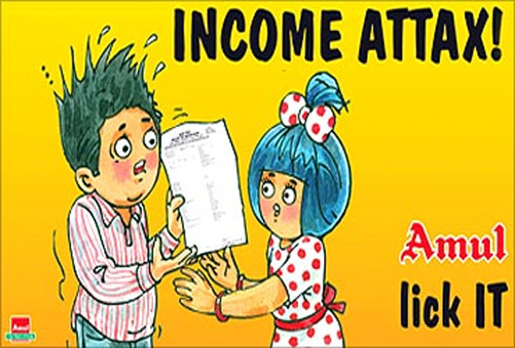 Amul advertisement on taxpayers receiving erroneous recovery notice from the income tax department due to an error in software (April 2010).
