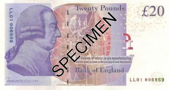 20 pounds banknote that features Economist Adam Smith.