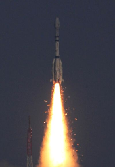 An Indian Geosynchronous Satellite Launch Vehicle (GSLV-F06) blasts off carrying the communication satellite GSAT- 5P from the Satish Dhawan space centre in Sriharikota.