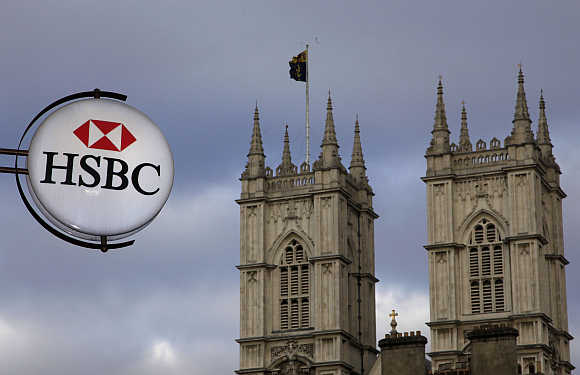 A branch of HSBC bank near Westminster Abbey in central London.
