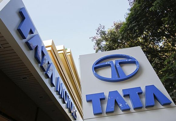 Tata Motors logos are pictured outside their flagship showroom in Mumbai.