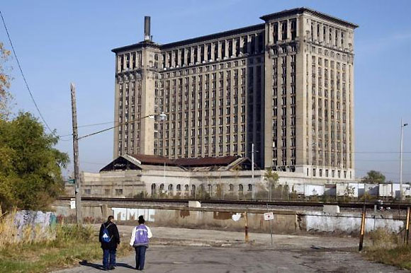 The Michigan Central Train depot sits vacant just west of downtown Detroit.