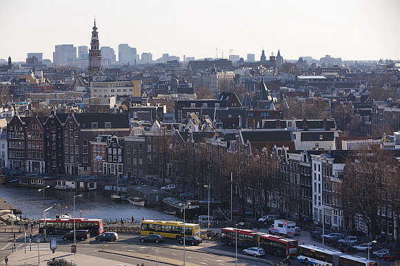 A rootop view of Amsterdam, the Netherlands.