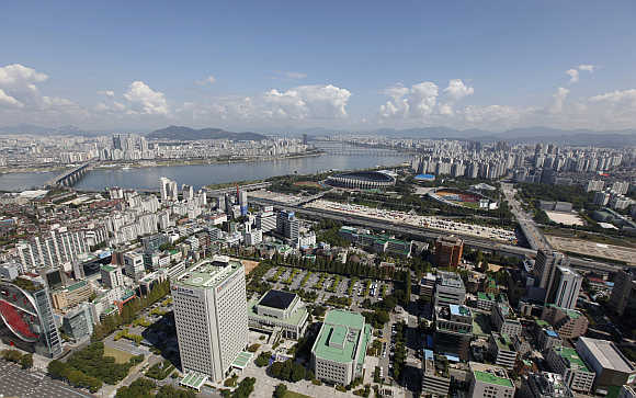 A view of Gangnam area down the Han River in Seoul, South Korea.
