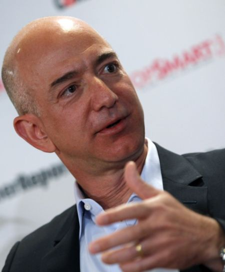 Amazon.com President, Chief Executive and Chairman Jeffrey Bezos speaks with employers and attendees at the Consumer Reports headquarters in Yonkers, New York