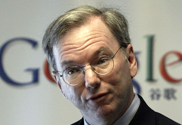 Google Executive Chairman Eric Schmidt attends a news conference in Beijing