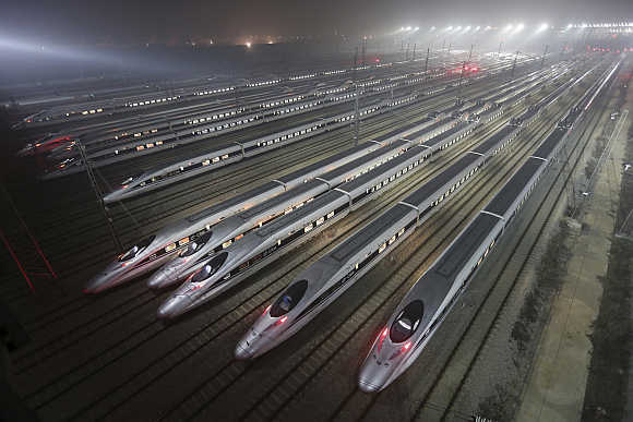 CRH380 (China Railway High-speed) Harmony bullet trains at a maintenance base in Wuhan, Hubei province.
