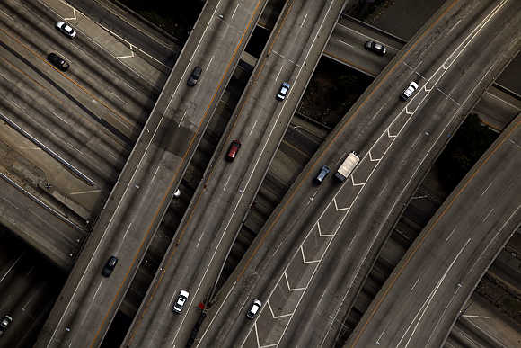 The 10/110 freeway interchange in Los Angeles, California.