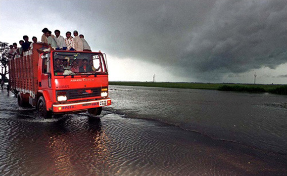 A flooded highway in Orissa.