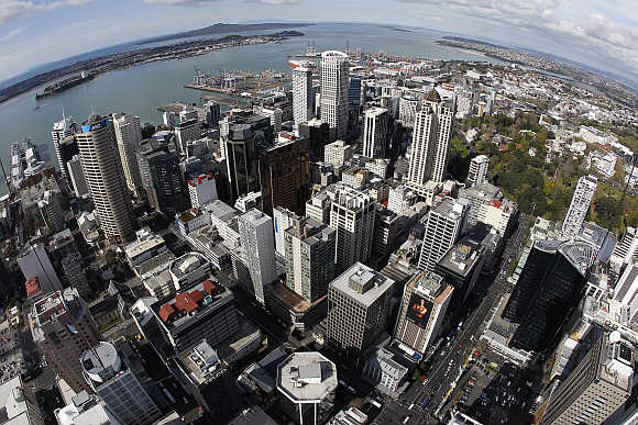 A view of Auckland from atop the Sky Tower in New Zealand.