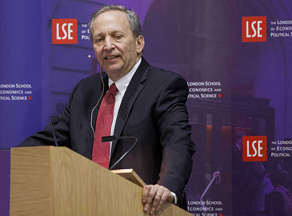 Former US Treasury Secretary Lawrence Summers at the London School of Economics in London.