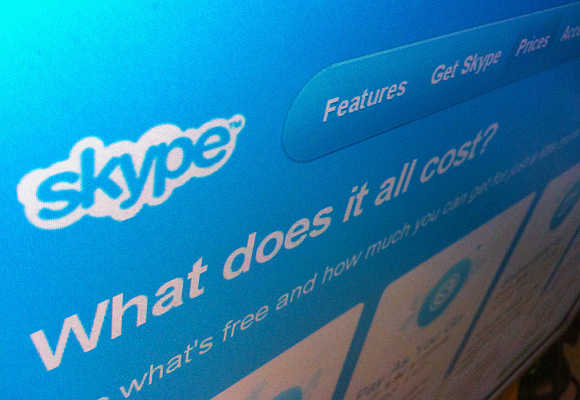 A page from the Skype website is seen in Singapore.