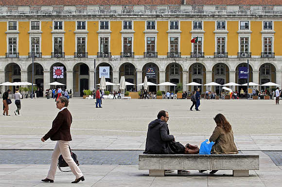 A view of the main square of Praca do Comercio in front of the Finance Ministry in Lisbon, Portugal.