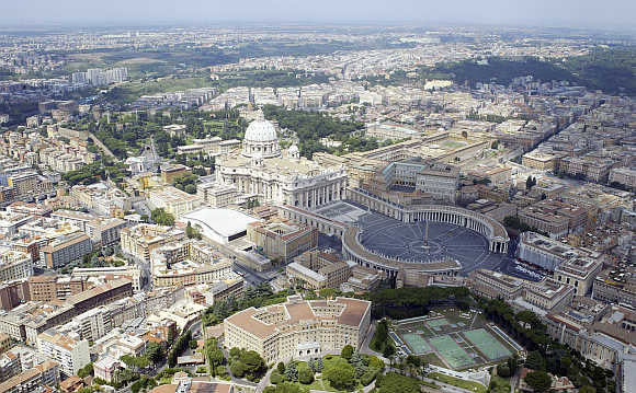 An aerial view of St Peter's square in Rome, Italy.
