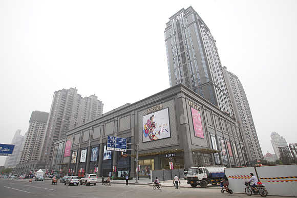 A view of the Lotte Department Store in Tianjin, China.