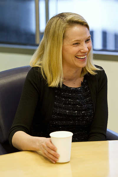 Marissa Mayer at the Reuters Global Technology Summit in the Thomson Reuters offices in San Francisco, California.