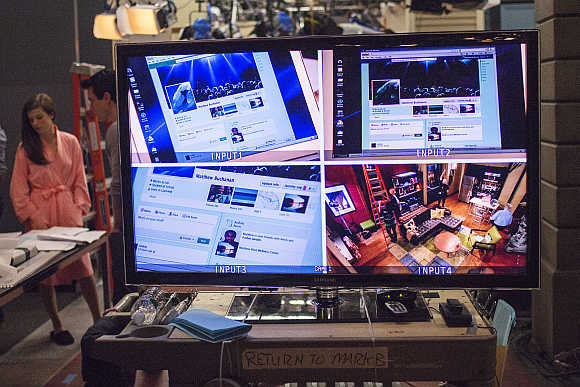 Video monitors on the set in between shoots of the filming of the soap opera 'One Life to Live' in Stamford, Connecticut. The soap opera will be telecast on Hulu.