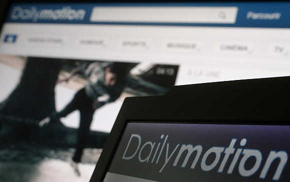 A view of Dailymotion website pages in a photo illustration taken in Paris.