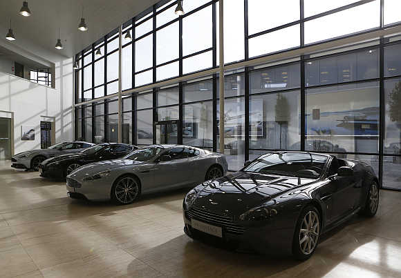 Aston Martin cars in the production facility in Gaydon, central England.