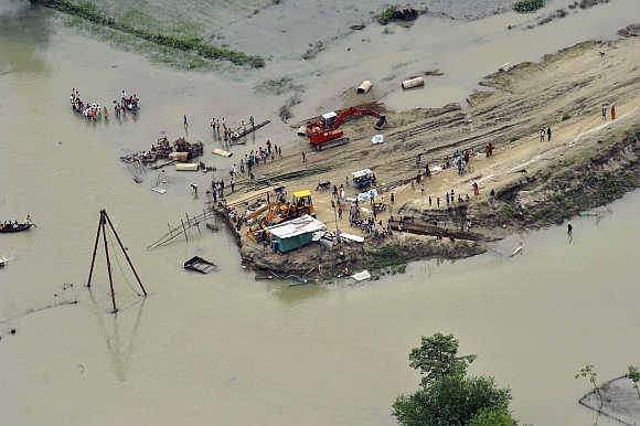 An aerial view shows flood-affected people in Bihar. A file photo.