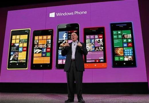 Microsoft CEO Steve Ballmer speaks during the launch of Windows Phone.