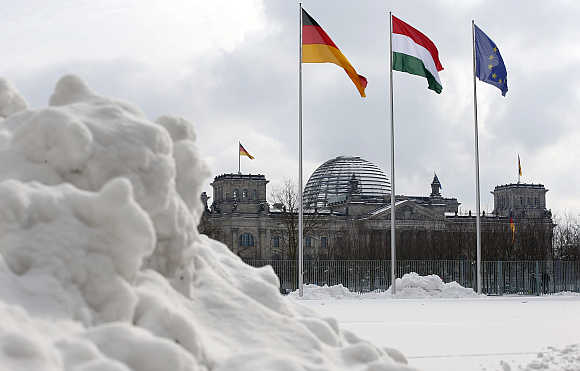 Snow covers the yard at the Chancellery in Berlin.