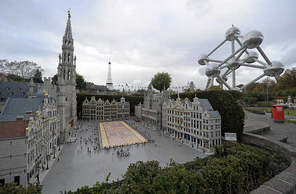 A miniature reproduction of the Grand Place of Brussels is seen in the Mini-Europe park, where all the models are built at a scale of 1:25, in Brussels.