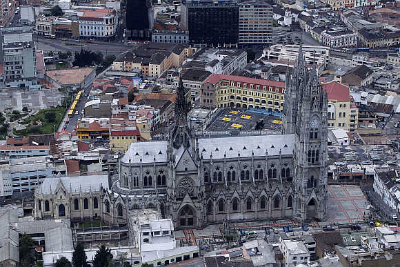 An aerial view shows Quito's Basilica church in Ecuador.