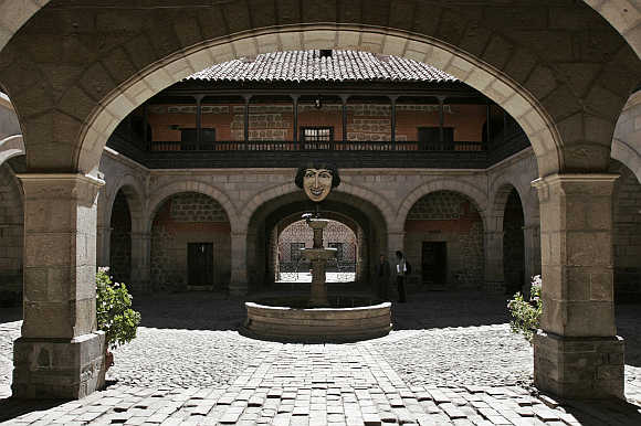 A view of the main entrance of La Casa de la Moneda in Potosi, some 460km southeast of La Paz, Bolivia.