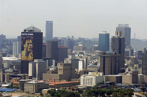 Cityscape of Johannesburg in South Africa.