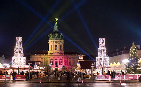 A view shows a Christmas market in front of the Charlottenburg castle in Berlin, Germany.