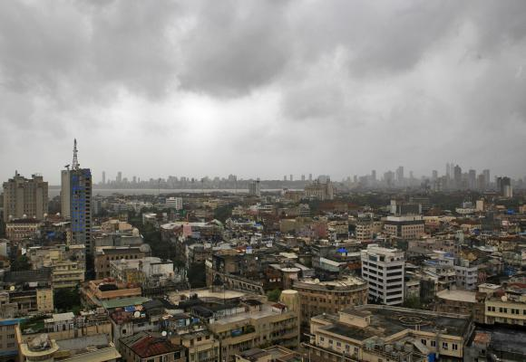 Monsoon clouds loom over Mumbai's skyline.