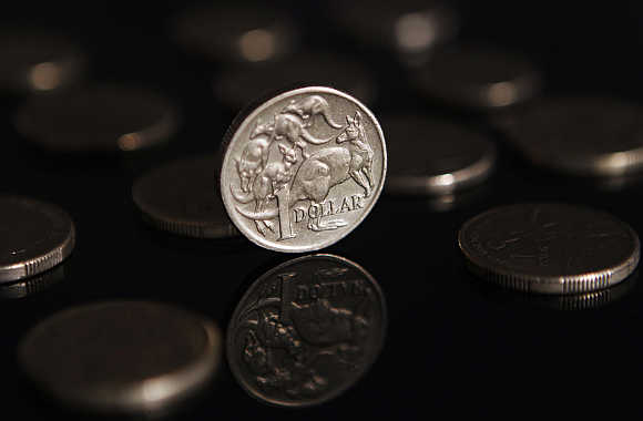 A one Australian dollar coin is seen in this illustration taken in Sydney, Australia.