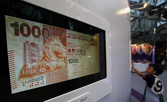An image of a Hong Kong dollar note launched by HSBC during an exhibition organised by the Hong Kong Monetary Authority in Hong Kong.