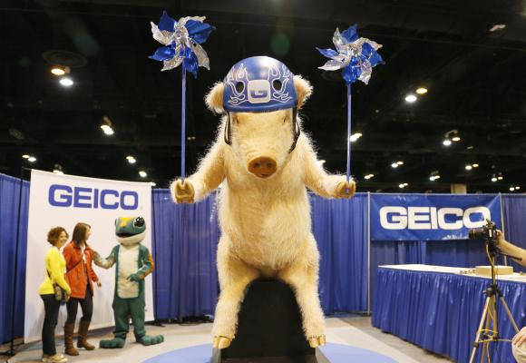 A stuffed pig featured in Geico insurance advertisements is seen with the Geico lizard marketing mascot (3rd L) at their booth at the Berkshire Hathaway annual meeting in Omaha.