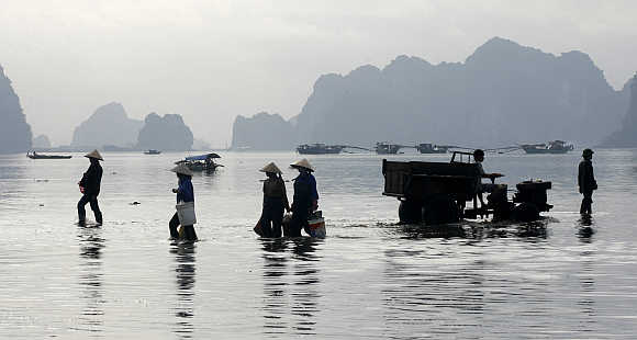 Seafood vendors walk at a fishing port in Cam Pha town in Quang Ninh province, 200km from Hanoi, Vietnam.